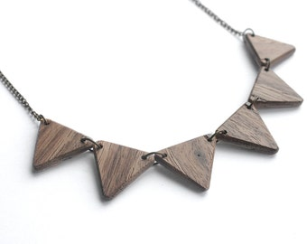 REVERSIBLE - Triangle Wooden Bib Necklace, Walnut and Oak
