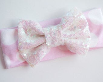 newborn-6mos** Large Polka Dot Sparkle Bow