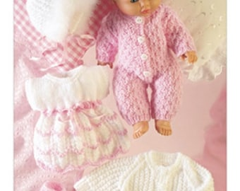 Knitting Pattern Dolly full outfit dress hat cardigan onsie Dk  sirdar 3072  14inch doll  new