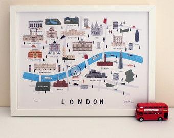 London map illustrated print