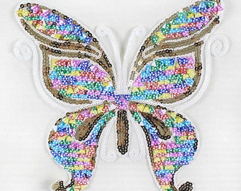Butterfly sequined Patch applique vintage embroidered cloth decoration patch Sewing Supplies