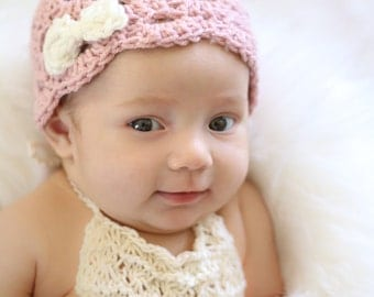 Crocheted baby beanie, vintage style hat, dusty rose beanie, photo prop, baby gift, layette, baby hat