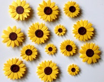 Sunflower magnets, decorative magnets, magnet board, sunflower decor, magnet, office supplies, cubicle decor, kitchen magnets, home decor