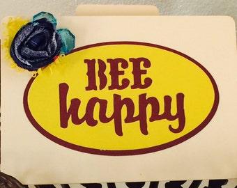 Bee Happy Card, hand made card, cute folder, fun gift tag, gift card, mini folder, manila folder, recipe folder, gift card, yellow, bee