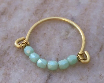 Beaded turquoise ring