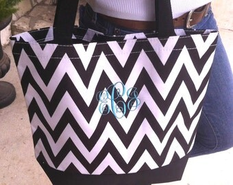 Black Chevron Canvas Tote Bag with Embroidery Personalization