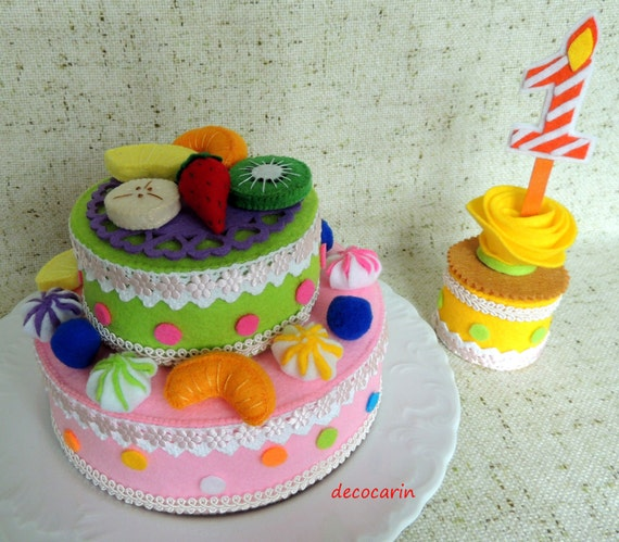 Felt food felt layer folded cake felt home party decor for Decoration layer cake