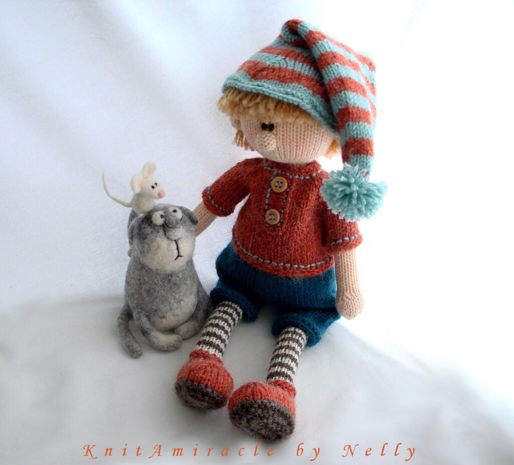 Knitting Patterns For Dolls Houses : Knitting pattern doll Toy knitting pattern Knitted doll boy Pattern PDF for k...