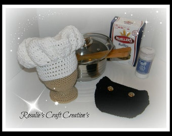 Crochet Chef Photo Prop Hat & Diaper Cover 0-3month