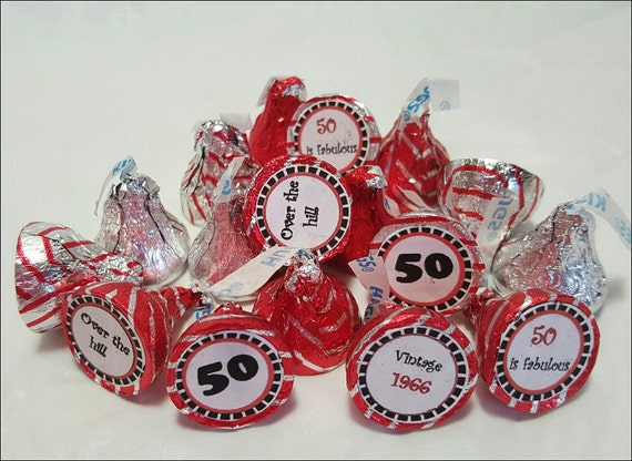 Printable Hershey Kiss labels 50th birthday DIY INSTANT DOWNLOAD-2016 (1966)