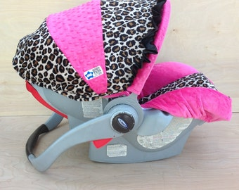 Infant Car Seat Cover- Tan Leopard/ Hot Pink