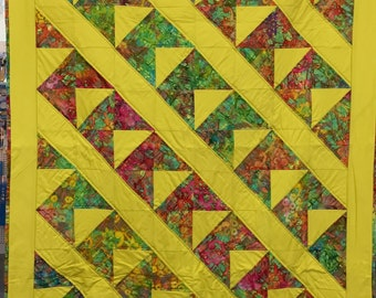 "Batik-patchwork quilt ""yellow head"""
