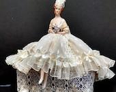 Porcelain Half doll w/LEGS, Pincushion doll, Dresser Doll, Boudoir Doll, Fashion Bride doll, 1940's-50's fashion-Original Artist Design.