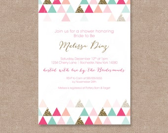 Triangle Patterned Modern Bridal/Baby Shower Invite