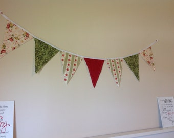 Sage Green and Roses Bunting
