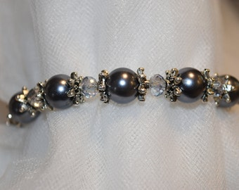 Gray Beaded Bracelet and earring set