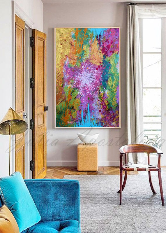 68 Wall Art Purple and Gold Abstract Painting