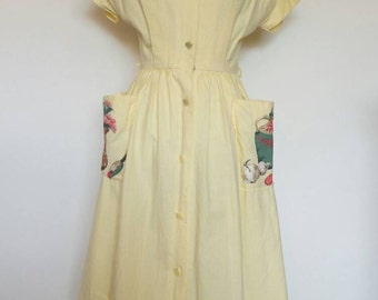 Vintage house dress Lounging Apparel by Evelyn Pearson cotton summer dress 1950s apron dress pale yellow and white