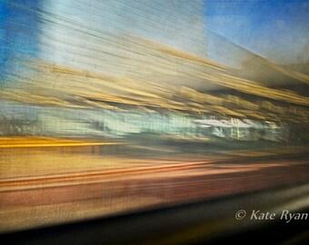 Philadelphia Photography, Abstract, Urban Landscape, Train Travel, Surreal, Impressionistic, Dreamy, Modern Wall Art, Office Art, Home Decor