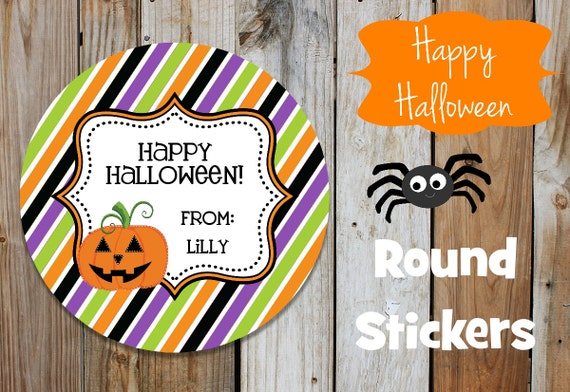 Halloween Stickers - Jack O Lantern - Set of 12 Round Labels - Orange Black Purple Green Stripes