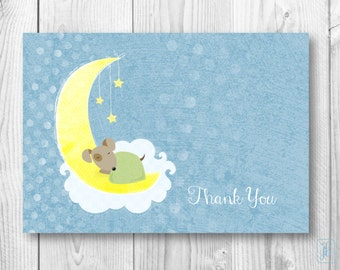 Thank You Note Cards | Blue Puppy on the Moon Thank You Notes | Baby Thank You Note Cards