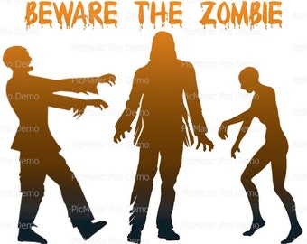Halloween Beware The Zombies - Edible Cake and Cupcake Topper For Birthday's and Parties! - D21638