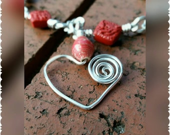Red Recycled Paper Bead and Silver Wire-Wrapped Heart Pendant Necklace with Red Beads