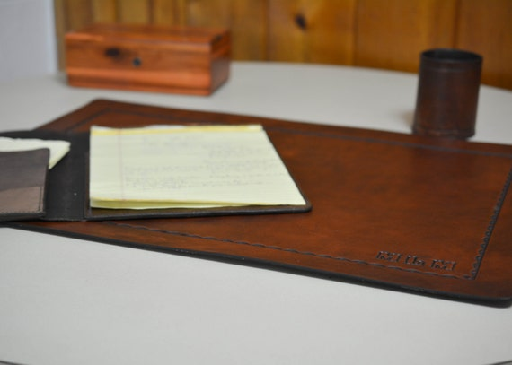 Desk Pad - Office Blotter Pad - in Full Grain Leather