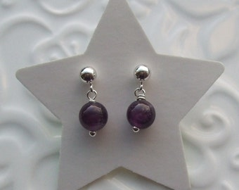 Amethyst semi precious sterling silver earrings