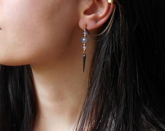 Spike earrings, Ear cuff earrings with crystal beads and agate beads, Chain ear cuff earrings, Dangle drop earrings