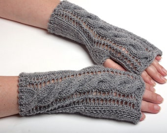hand knitted mittens grey fingerless gloves winter accessory hand arm warmer wrist warmer