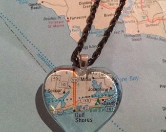 Gulf Shores, AL Vintage Map Pendant Necklace