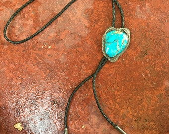 Bennett bolo Tie with Turquoise stone.