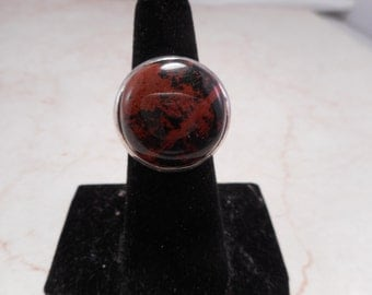 Sterling Silver Ring with a Large Oval Mahogany Obsidian Cabachon Size 7.5