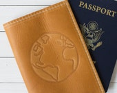 Personalized Globe Embossed Design Leather Passport Cover | The Earhart