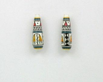 Handmade Ceramic Peruvian Teardrop Shaped Beads, Choice of quantity - 29