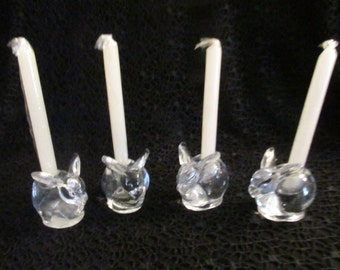 "Mini rabbit candle holders Crystal holds 4"" tapers set of 4, Made in Taiwan"