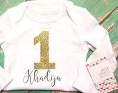 One year birthday bodysuit for children, personalized gift