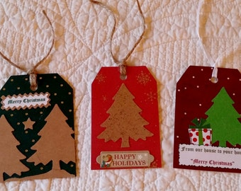 Christmas Gift Tags -- Set of 3 -- Handmade in USA