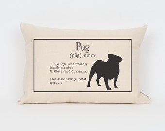 Pug 12x18 Definition Pillow / Choose Your Ink Color / Insert Included / Dog Breed Pillow, Gift for Pet Lover, Pet Pillow