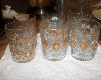 6 Antique Vintage Glass Tumblers (2 different from 4) (Price for All)