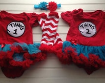 Thing 1 Thing Two Tutu Onesie, Baby Outfit,Dr Seuss Outfit, Matching Twins Outfit, Photo Prop