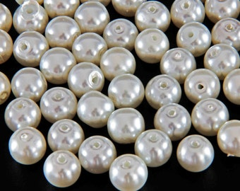 Set of 10 Medium Sized 8 mm (5/16 inch) Diameter Glass Pearl Beads