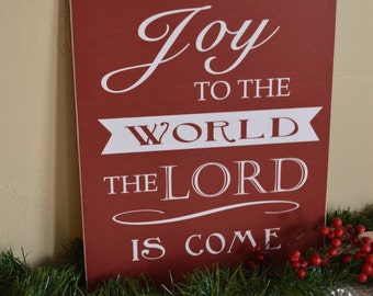 Christmas Decor Joy to The World Sign,  Holiday Decor, Christmas Decoration, Christmas Sign, Christmas Gift, Hostess Gift, 8x10 Wooden Sign
