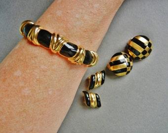 Vintage Carolee black gold clip earrings, Carolee black enamel gold earrings, vintage black enamel gold earring lot, black gold clip on lot