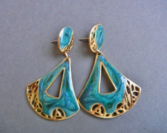 Edgar Berebi earrings, Berebi cutout earrings, vintage teal earrings, berebi turquoise earrings, mod earrings, hip earrings, deco earrings