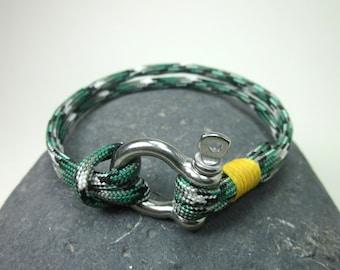 EXPRESS SHIPPING Paracord Bracelet- Survival Bracelet / Nautical Sailing Bracelet -Mens Bracelet Green Yellow Black Bracelet