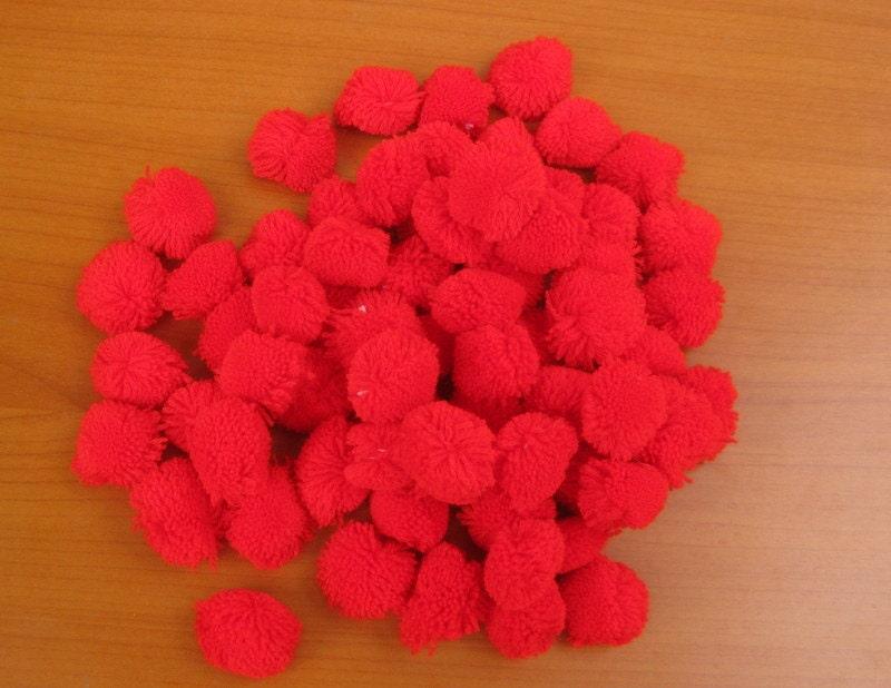 50 pcs red pom poms decorative pom pom. Black Bedroom Furniture Sets. Home Design Ideas