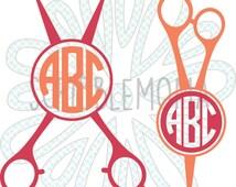 SVG, PNG, EPS - Beautician's Scissors Monogram | Hairdresser Monogram - Digital vector download for craft cutters