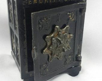 "Antique Vintage Old Cast Iron ""Security Safe Deposit"" Piggy Bank w/Combination"